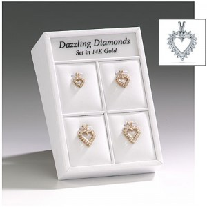 14K Yellow Gold Diamond Heart Pendant Display