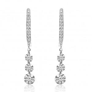 14K White Gold Triple Diamond 1.04 Ct Dashing Diamond Earrings