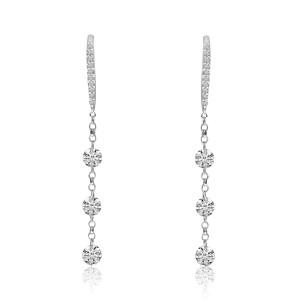 14K White Gold 1.2 ct. Triple Diamond Dangle Dashing Diamond Earrings