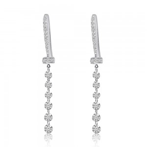 14K White Gold J Diamond J Hook .90 Ct Dashing Diamond Earrings