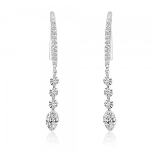14K White Gold J Hook Round and Marquise .96 ct Dashing Diamond Earrings