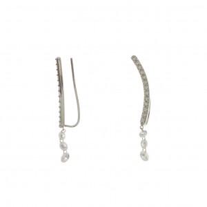 14K White Gold Threader .92 Ct Dashing Diamond Earrings