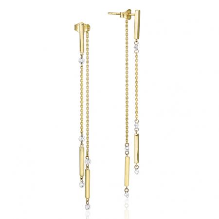 14K Yellow Gold Dashing Diamonds Pierced Diamond Dangle Threader Earrings