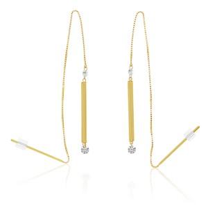 14K Yellow Gold Dashing Diamonds Pierced Diamond Threader Earrings