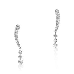 14K White Gold Triple Pierced Diamond Ear Climber Dashing Diamond Earrings