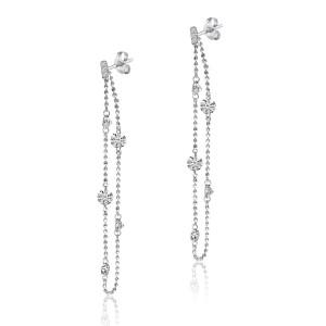 14K White Gold Double Pierced Diamond Chain Dashing Diamond Earrings
