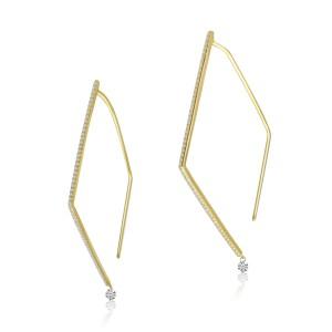 14K Yellow Gold Pierced Diamond Triangle Dashing Diamond Geometric Earrings
