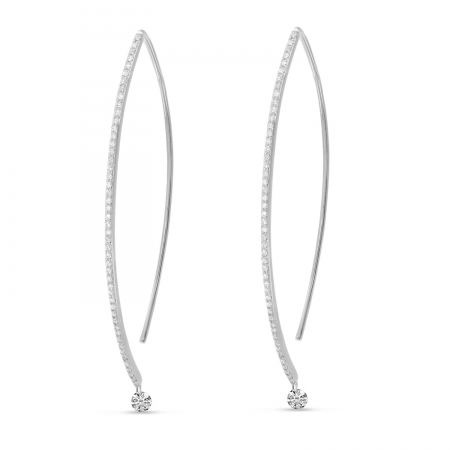 14K White Gold Dashing Diamond Linear Geometric Earrings