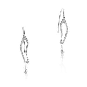 14K White Gold Double Dangle Pierced Diamond Dashing Diamond Earrings