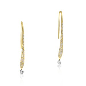 14K Yellow Gold Pierced Diamond Dashing Diamond Wire Earrings