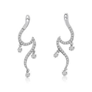 14K White Gold Triple Pierced Diamond Swiggle Dashing Diamond Earring Jacket