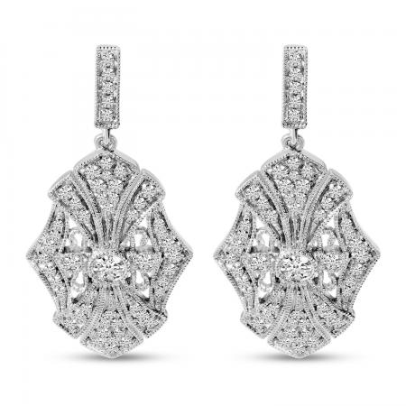 14K White Gold Art Deco Diamond Earrings