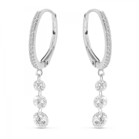 14K White Gold Triple Diamond Dashing Diamond Leverback Earrings