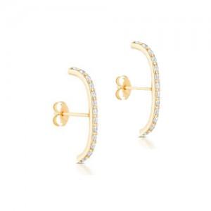 14K Yellow Gold Diamond Super Huggie Earrings