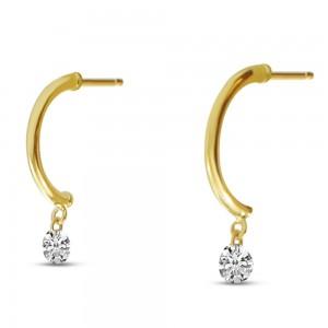14K Yellow Gold Dashing Diamonds Half Huggie .30 Ct Diamond Earrings