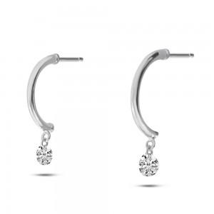 14K White Gold Dashing Diamonds Half Huggie .20 Ct Diamond Earrings