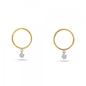 14K Yellow Gold Small Front Hoop .20 Ct Diamond Earrings