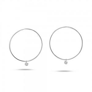 14K White Gold Dashing Diamonds Bar Hoop .30 Ct Diamond Earrings