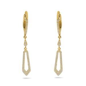 14K Yellow Gold Diamond Leverback Fancy Dangle Earrings