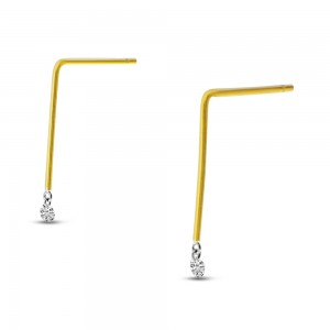 14K Yellow Gold Small Linear .20 Ct Diamond Drop Earrings