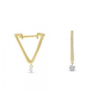 14K Yellow Gold Dashing Diamonds Triangle Huggie .26 Ct Diamond Earrings