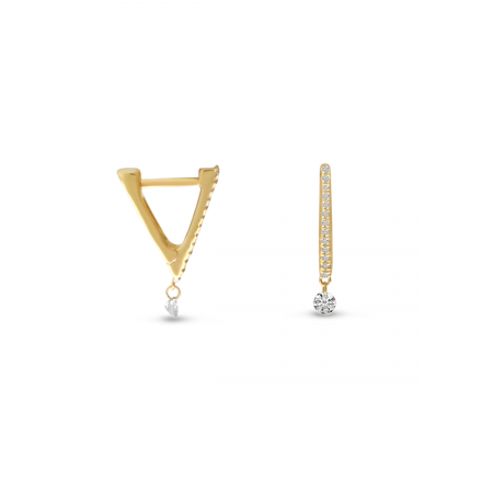 14K Yellow Gold Dashing Diamond Tiny Triangle Huggie Earrings