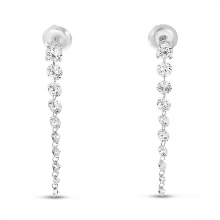 14K White Gold Dashing Diamond Stud with 10 Pierced Diamond Dangle Earrings
