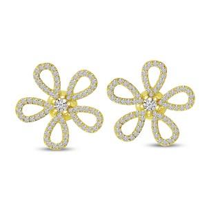 14K Yellow Gold Diamond Flower Post Earrings