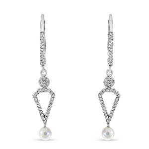 14K White Gold Diamond Leverback and Pearl Dangle Earrings