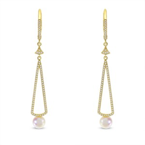 14K Yellow Gold Diamond Leverback and Pearl Long Dangle Earrings