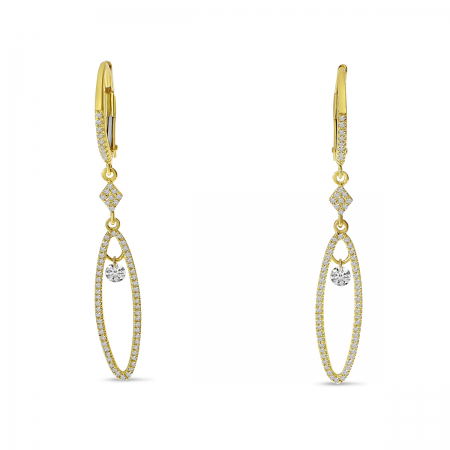 14K Yellow Gold Dashing Diamond Long Oval Dangle Earrings