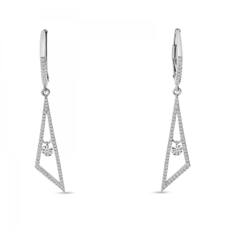 14K White Gold Dashing Diamond Geometric Dangling Triangle Earrings