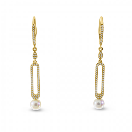 14K Yellow Gold Diamond and Pearl Long Dangle Earrings
