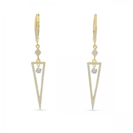 14K Yellow Gold Dashing Diamond Triangle Dangle Earrings