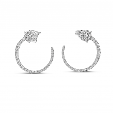 14K White Gold Pear Diamond Front Hoop Earrings