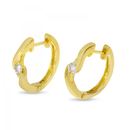 14K Yellow Gold Single Diamond Huggie Earrings