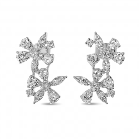 14K White Gold Double Diamond Floral Earrings