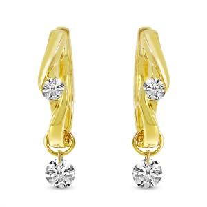 14K Yellow Gold Dashing Diamond Pierced Diamond Huggie Earrings