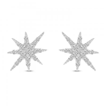 14K White Gold Diamond Starburst Earrings