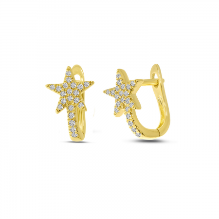 14K Yellow Gold Diamond Shooting Star Huggie Earrings