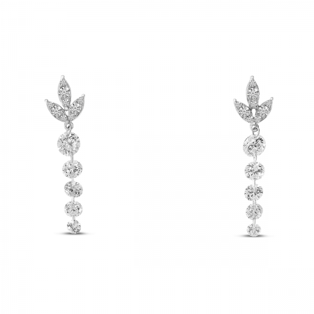 14K White Gold Dashing Diamond Floral Diamond Top Dangle Earrings