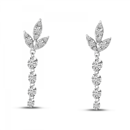 14K White Gold Dashing Diamond Floral Diamond Top Dangle Earrings