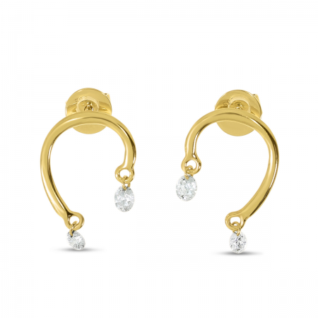 14K Yellow Gold Dashing Diamond Horseshoe Earrings