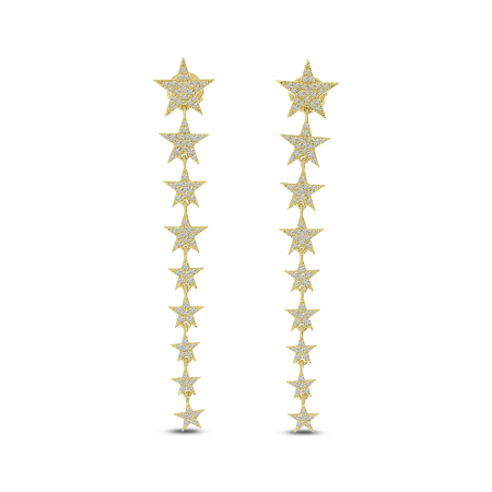 14K Yellow Gold Diamond Star Long Earrings