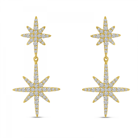 14K White Gold Diamond Double Starburst Earrings
