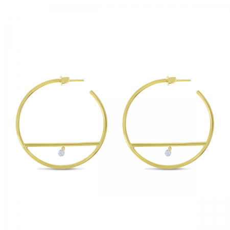 14K Yellow Gold Dashing Diamond Bar Hoop Earrings
