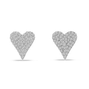 14K White Gold Small Diamond Heart Post Earrings
