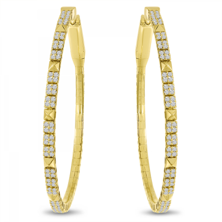 14K Yellow Gold Diamond Flexible Hoop Earrings