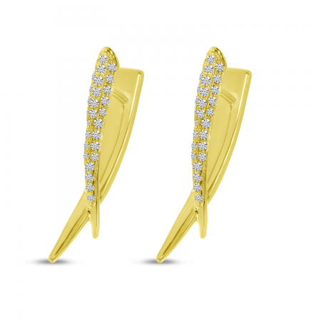 14K Yellow Gold Diamond Edgy Huggie Earrings