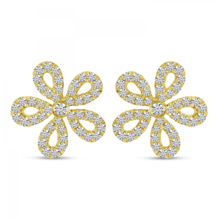 14K Yellow Gold Small Diamond Floral Earrings